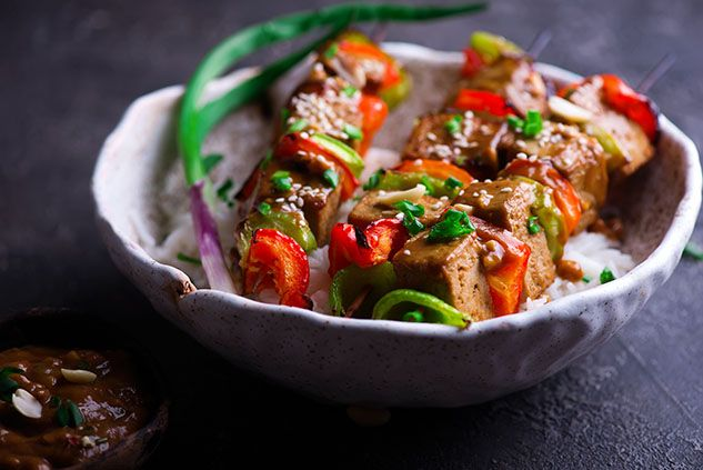 Bali-Style Tofu and Sweet Pepper Skewers