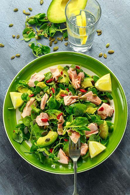 Salmon and Avocado on Mixed Greens