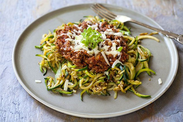 Zucchini Noodles in a Bolognese Meat Sauce