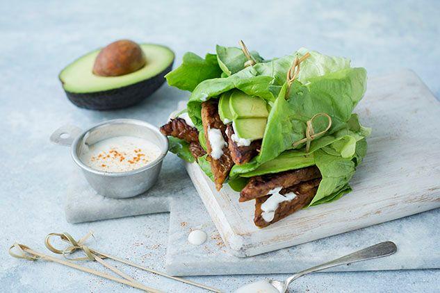 Tempeh and Avocado Lettuce Wrap