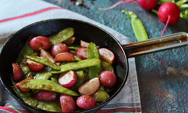 Buttered Snow Peas and Radish