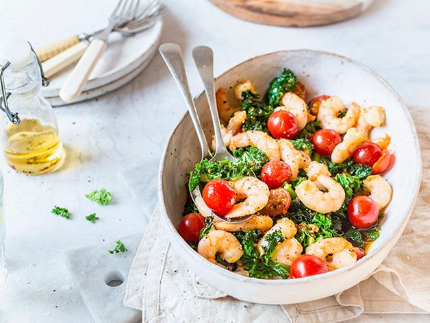 Oven-Roasted Shrimp and Kale