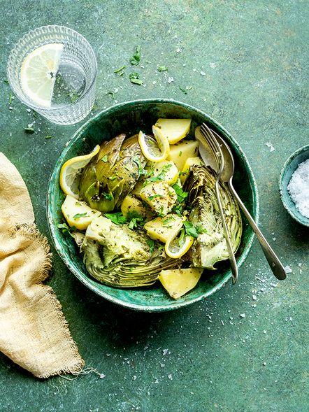 Artichauts et pommes de terre au persil