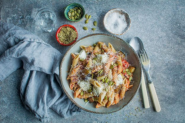 Pregnancy Recipes Pasta with Aubergines and Pumpkin Seeds