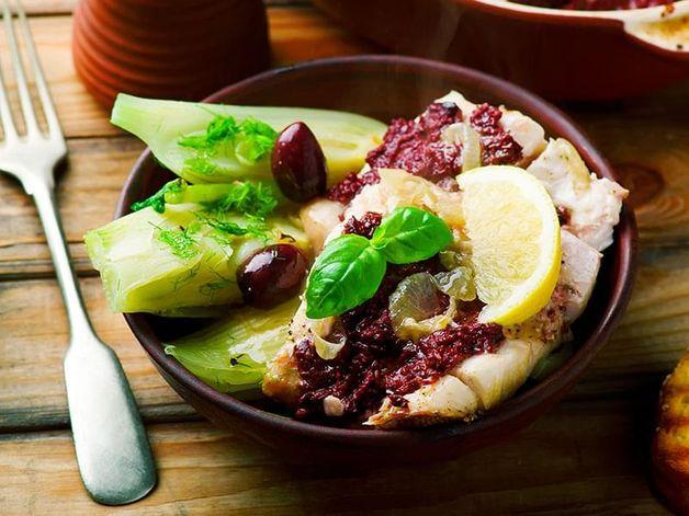 Morue aux olives et fenouil