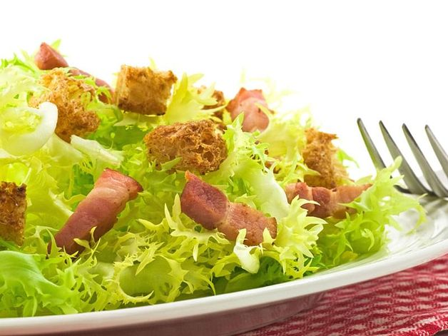 Curly Endive Salad with Croutons and Bacon