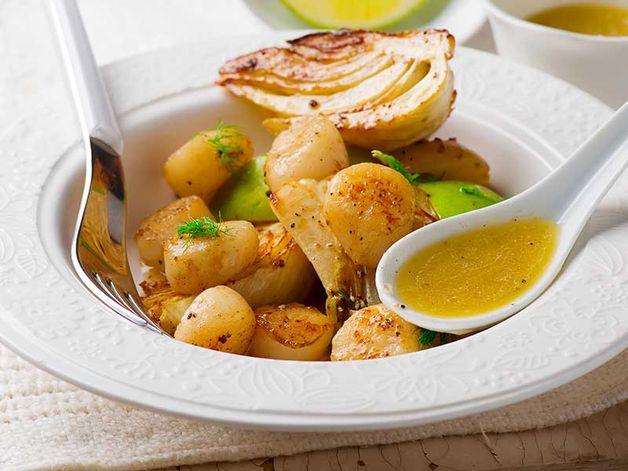 Capesante e finocchi grigliati con burro al lime