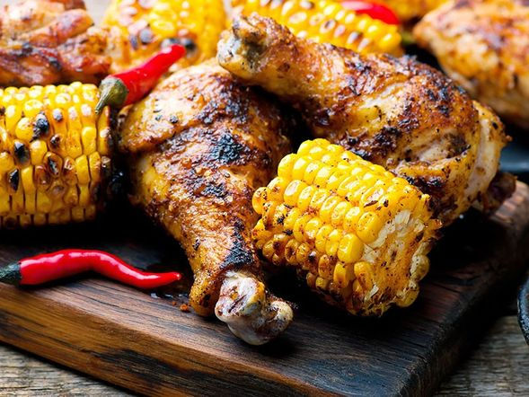 Poulet et blé d'Inde grillés à la cajun