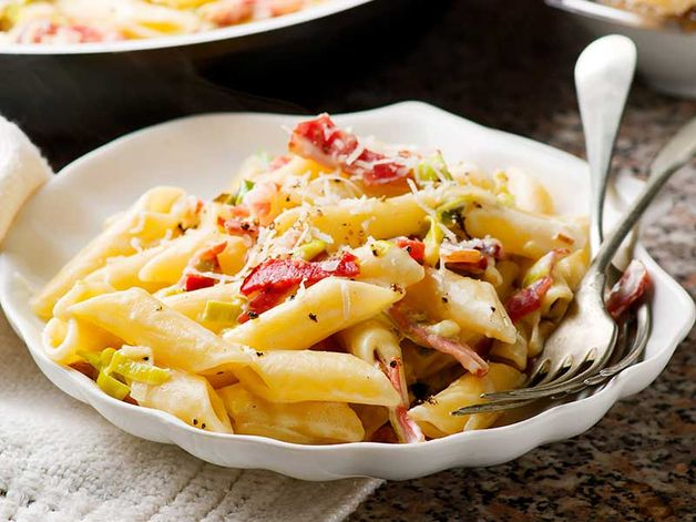 "Penne with Leeks and ""Speck"""