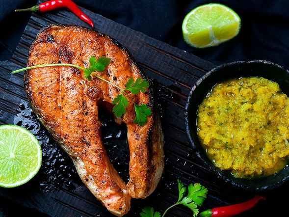 Grilled Salmon Steaks with Mango Dip