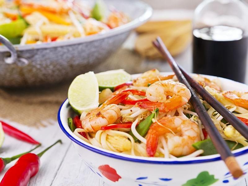 Sauté aux crevettes et aux légumes minute