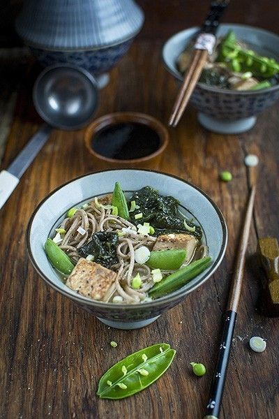 Japanese Soup with Noodles and Seaweed