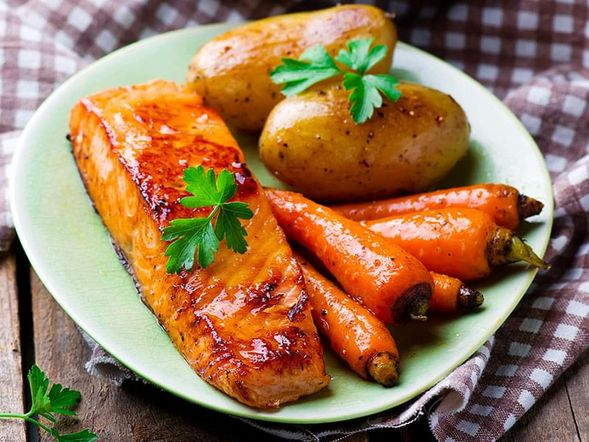 Brined Salmon with Maple Syrup